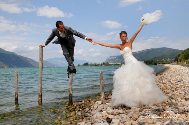 mariés au bord du lac du Bourget